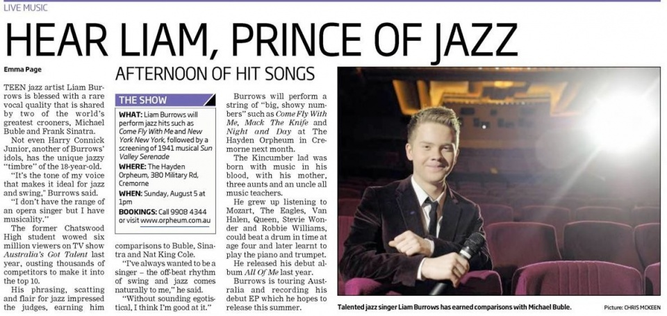 Hear Liam, Prince of Jazz – Mosman Daily July 2012