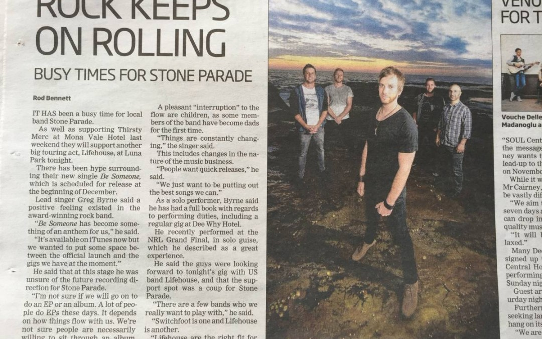 Stone Parade – Manly Daily October 2015