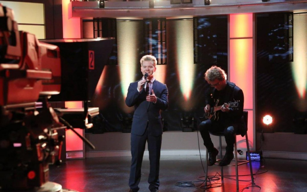 Liam Burrows performs on Channel Seven's 'The Morning Show'.