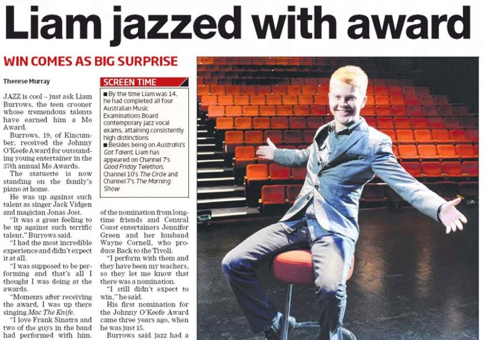 Jazz artist Liam Burrows wins Mo Award – Central Coast Express Advocate – June 2013