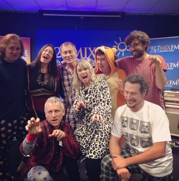 Toni Childs & band hanging with the Breakfast Crew at 92.7 MIXFM, Sunshine Coast before Toni's one hour 'Live in the Boardroom' performance to promote her upcoming album 'It's All A Beautiful Noise' and Solbar gig – August 2014